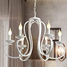Ganeed French Country Chandelier,6-Light White Candle-Style Chandeliers,Vintage Metal Pendant Chandelier Ceiling Pendant L...