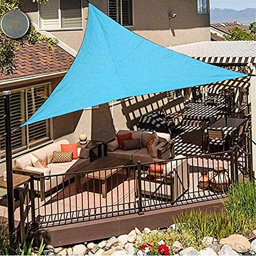 XISENOCI Parasol Triangular, toldo de Tienda de protección Solar Impermeable 95% Anti-UV, Velo de Sombra, Piscina Exterior, jardín, Patio, Diferentes tamaños, Azul Claro-2.4X2.4X2.4m