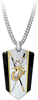 The Bradford Exchange Stainless Steel with 24k Gold and Black Ion-Plated USMC Semper Fi Reversible Dog Tag Shield Pendant Necklace