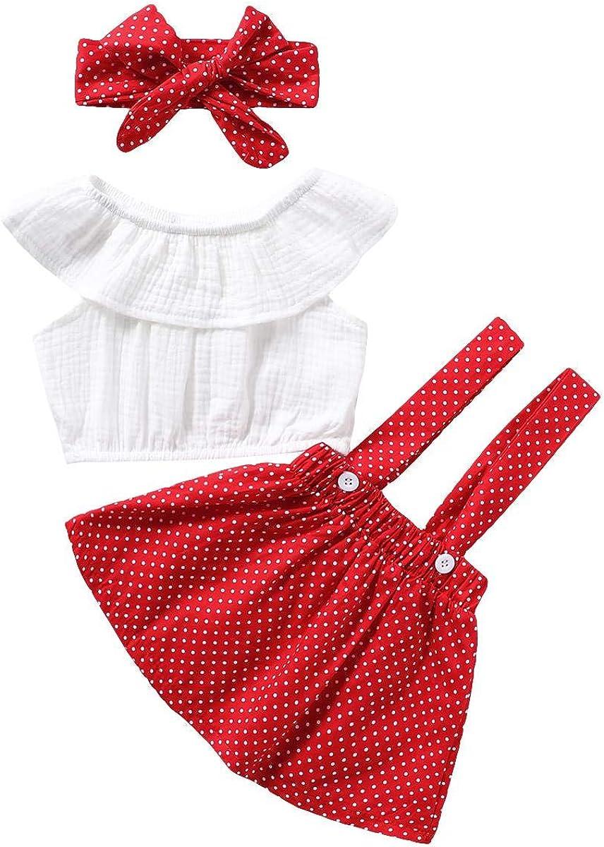 Baby Girl Suspender Skirt Set Lotus Leaf Collar Crop Top + Polka