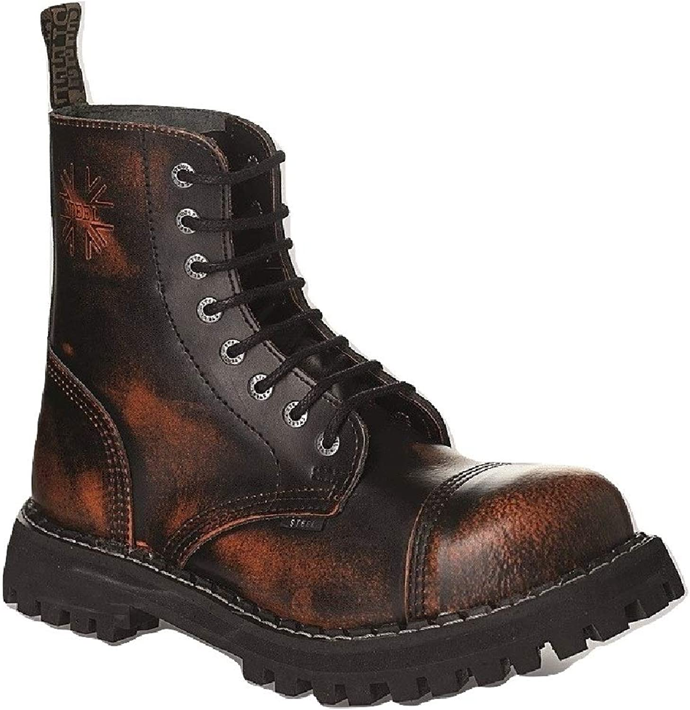 Steel Combat Boots Unisex Men's Ladies Leather orange Rub Off Black 8 Eyelets Army Punk Toe Cap