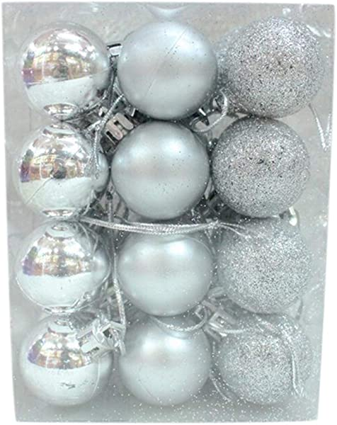 Maserfaliw Christmas Ball Ornaments 24Pcs 3cm Plastic Christmas Tree Balls Baubles Home Party Hanging Ornaments Silver