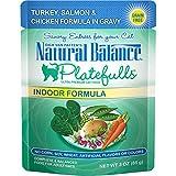 Natural Balance Platefulls Grain Free Indoor Cat Food, Salmon & Chicken Formula In Gravy, 3-Ounce...