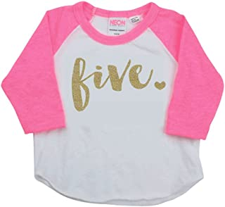 Bump and Beyond Designs Girl Fifth Birthday Outfit, Fifth Birthday Shirt, Five Year Old Outfit