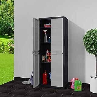 Armoire en plastique extérieur 65 x 38 x 171 cm Armoire haute de rangement avec 3 étagères réglables, noir + gris