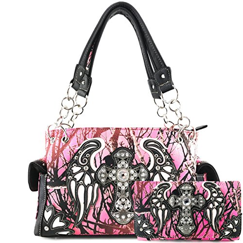Justin West Camouflage Tree Branches Bling Rhinestone Cross Wings Handbag Purse Messenger Bags and Wallets (Cross Pink White Handbag and Wallet)