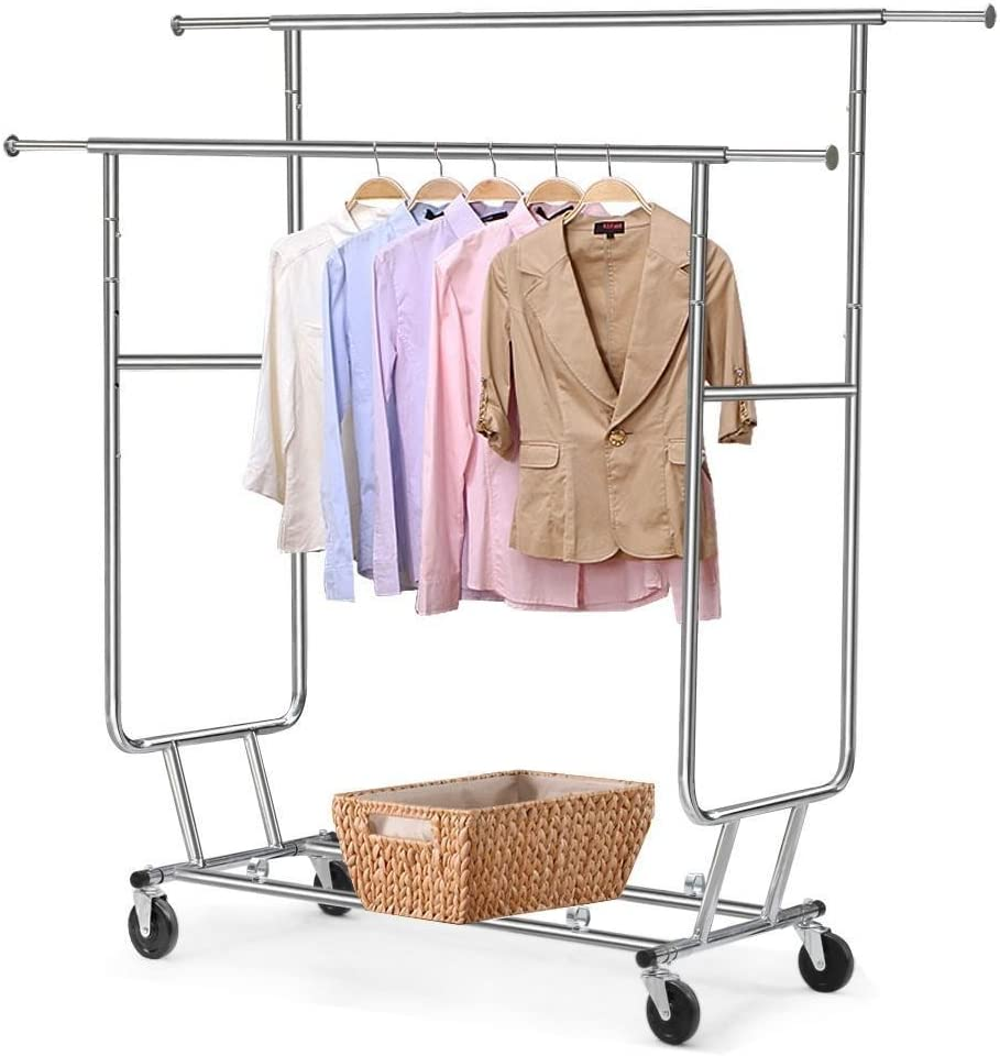 discount go2buy Commercial Clothing Garment Rolling Collapsible Hang Rack We OFFer at cheap prices