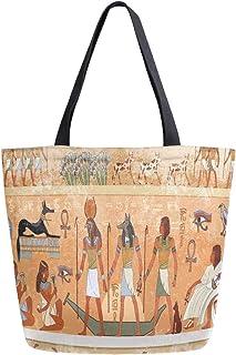 Mnsruu Wiederverwendbare Einkaufstasche mit antiker ägyptischer Szene, Kultur, für Lebensmittel, für Frauen, große lässige...