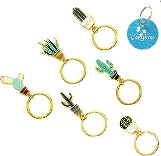 Carykon Creative Cactus Style Succulent Plant Shaped Keychain Key Ring Pendants, Set of 6 (Cactus)