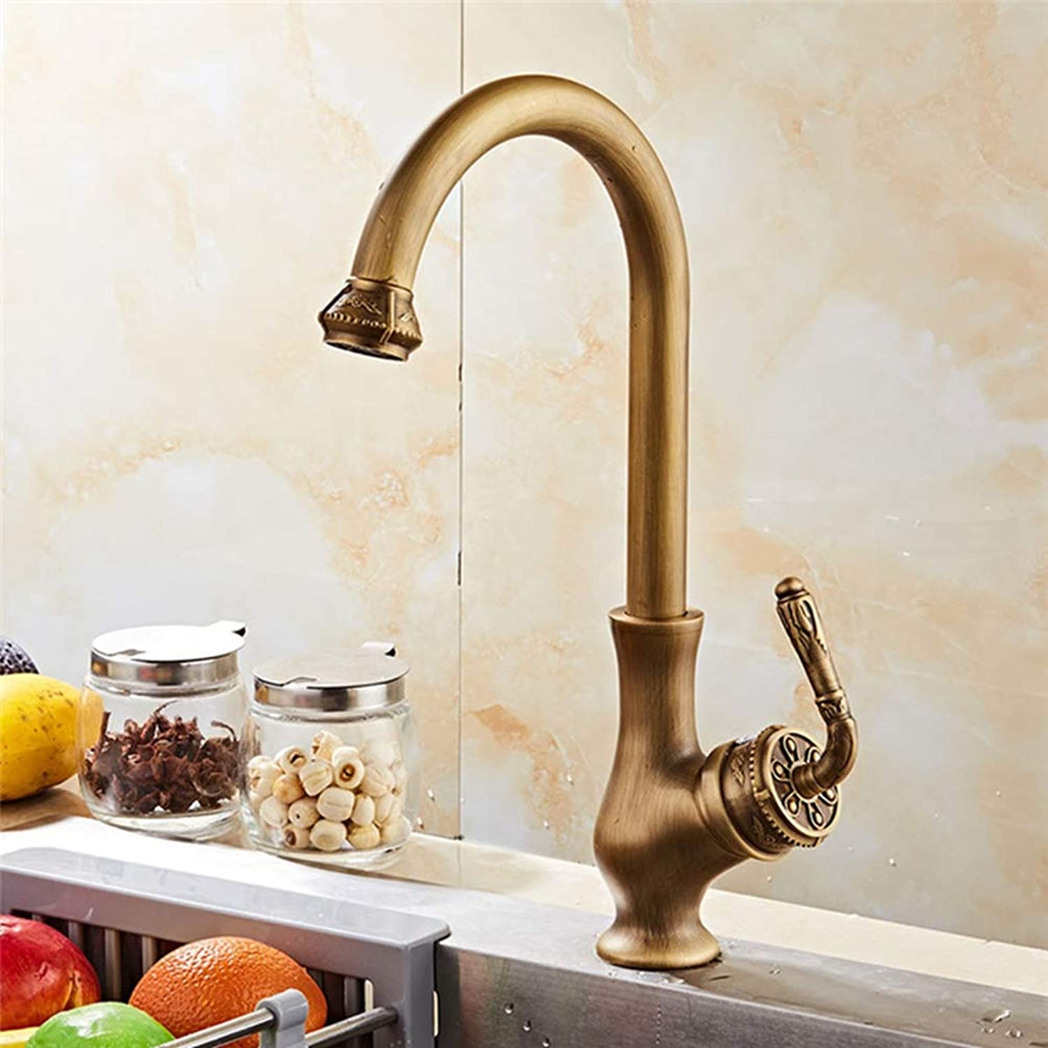 FZHLR Kitchen Faucet Copper Hot and Cold Carved Sink Faucet Vegetable Washing Basin Sink Mixer 360 Degree redating Antique Faucet