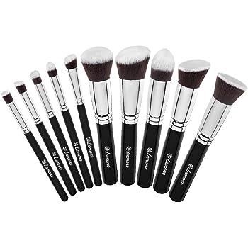 Set De Brochas De Maquillaje Profesional - Pinceles Maquillaje 10 Piezas - Brochas Base De Maquillaje, Brocha Kabuki, Brocha Polvos, Brochas De Maquillaje Ojos - Pelo Sintético Calidad Premium: Amazon.es: Belleza
