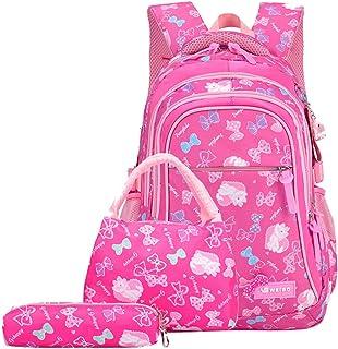 3Pcs Bowknot/Cat Print Girls Primary Backpack Bookbag Large Rucksack Kids School Backpack Sets with Lunch bag
