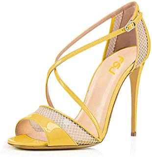 FSJ Women Graceful Open Toe Mesh Sandals High Heels Stilettos Strappy Slip on Crisscross Straps Shoes Size 4-15 US