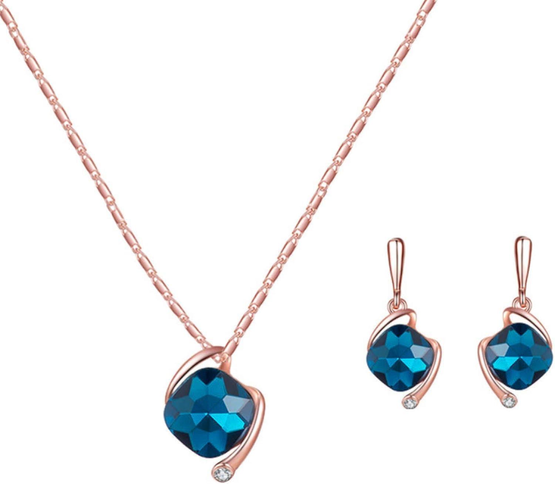 Women's Fashion Jewelry Sets, Women Square Rhinestone Pendant Necklace Ear Stud Earrings Party Jewelry Set