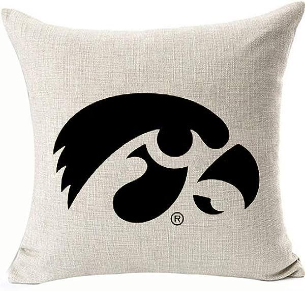 HomeTow Funny Iowa Logo 鹰眼装饰抱枕套鹰眼靠枕套椅子沙发椅亚麻可拆卸两侧颜色黑色 Iowa Logo