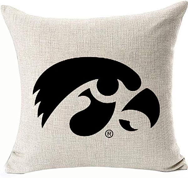 HomeTow 有趣的爱荷华州标志鹰眼鹰眼 DecorativesThrow 枕巾枕套的沙发 ChairLinen 可两边黑色爱荷华州的标志