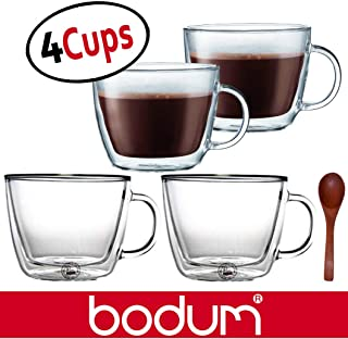 Bodum Bistro Double-Wall Insulated Glass Cafe Latte Mugs - 0.45 Liter, 15-Ounces, Clear (Set of 4 Glasses) & Zonoz Wooden Small Stirring Spoon Bundle