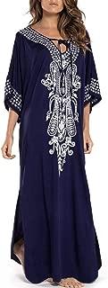 Women Long Tunic Dress Kaftan Maxi Dress Batwing 3/4 Sleeve Plus Size Summer Dress