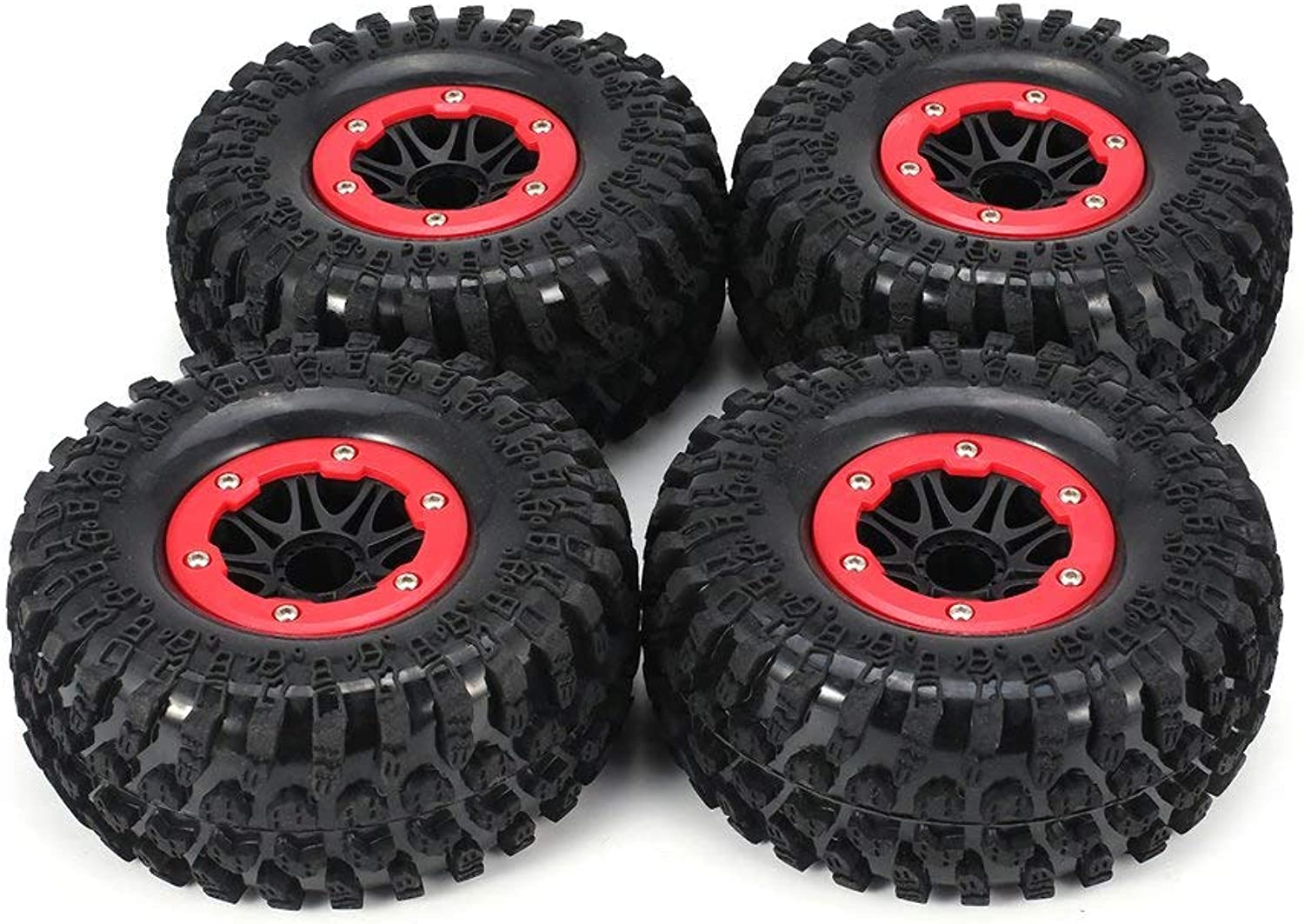 AUSTAR 4pcs AX-3021 123mm Rim Rubber Tyre Tire Wheel Plastic Hub for 1 10 RC Crawler Model HSP HPI Spare Parts Accessories
