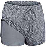Blevonh Workout Shorts for Women,2-in-1 Running Athletic Short with Pocket Womens Stretchable Drawstring Waist Stylish Training Hot Pants Ladies Casual Exercising RunningOutfits Gray M