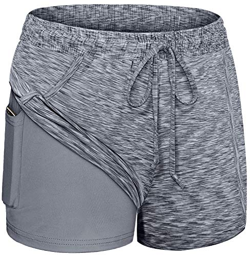 Blevonh Shorts for Women Athletic,Stretchy Waistband Double Layers Yoga Athletic Short with Pocket Womens Lightweight Plus Sized Quick Dry Pickleball WorkoutClothes Gray 2XL