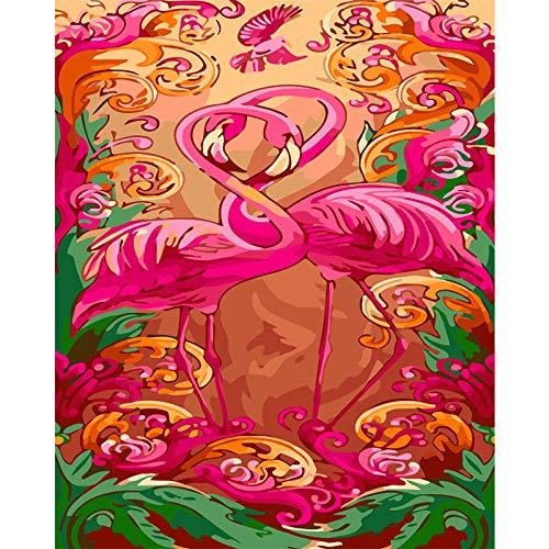 Kit de Pintura por Números para Adultos Niños Flamenco rosado animal Pintura al óleo de Bricolaje con Pinceles y Pintura Acrílica para Decoración Del Hogar Regalos 40x50 cm