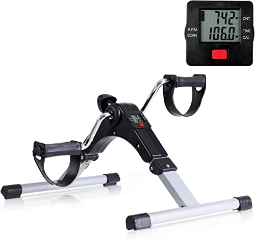new arrival Goplus Folding Pedal Exerciser, Adjustable Resistance wholesale Mini Exercise Bike Lightweight Indoor Foot Peddler Desk Bike with Electronic Display for Arms and Legs new arrival (Black with LCD Display) sale