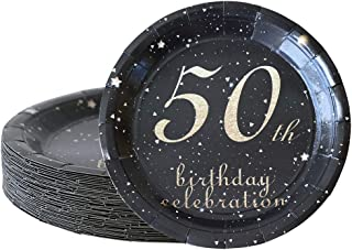50th birthday decorations party supplies set,50th birthday gifts for women or men, 50 piece paper plates,9 x 9 Inches. (50)