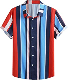 SANFASHION Men Short Sleeve Shirt Top Button Slim Fit Printed Stripes Casual Lightweight Breathable Comfy Soft 2020 Newest...