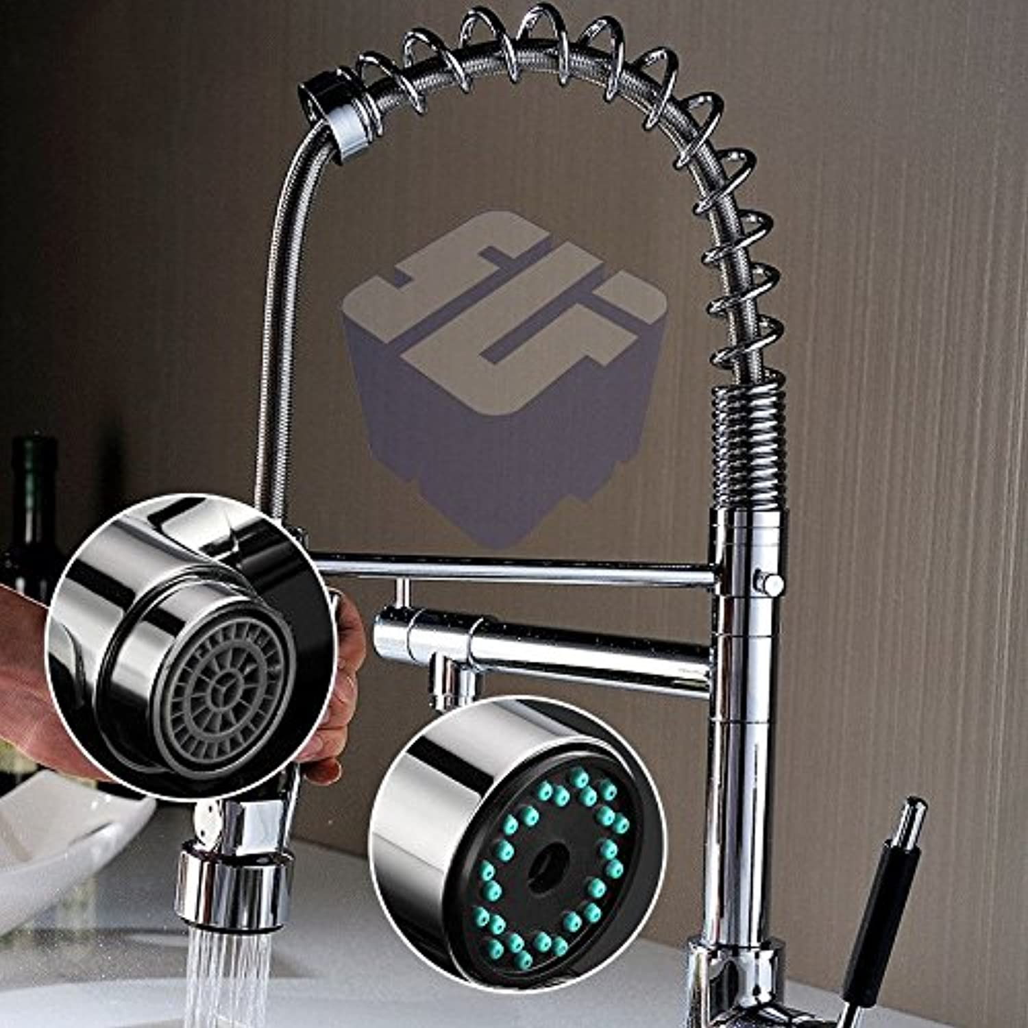 Lalaky Taps Faucet Kitchen Mixer Sink Waterfall Bathroom Mixer Basin Mixer Tap for Kitchen Bathroom and Washroom Copper Hot and Cold Single Hole redating Pull