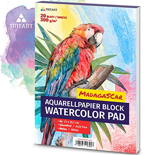 HOCHWERTIGES Aquarellpapier 300g / Din A4 / Weiß / 20 Blatt | Aquarellblock von Tritart
