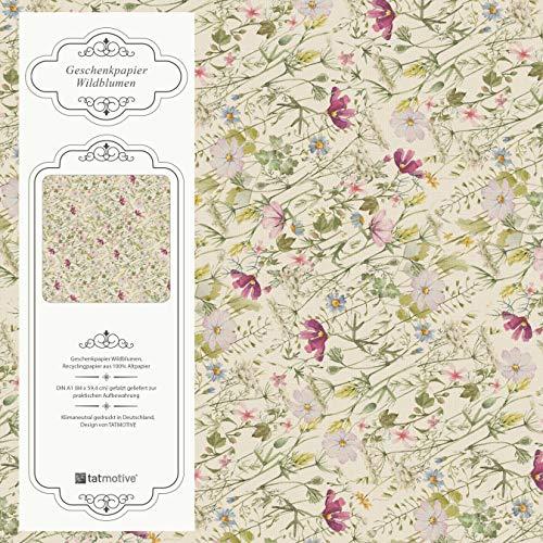 Wildblumen Geschenkpapier Vintage Blumen 10 Bögen 84 x 59 cm, Öko Recycling-Papier nachhaltig gedruckt, für Geburtstag Geschenk
