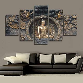 PEACOCK JEWELS [Medium] Premium Quality Canvas Printed Wall Art Poster 5 Pieces / 5 Pannel Wall Decor Gautama Buddha Painting, Home Decor Pictures - Stretched