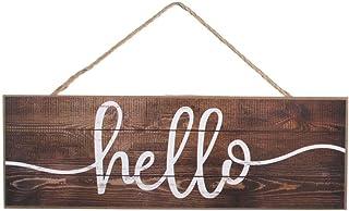 "GiftWrap Etc. Rustic Wooden Slat Hello Sign - 15"" x 5"", Wood Wall Decor, Porch, Front Door Decor, Wreath, Swag, Office, Ga..."