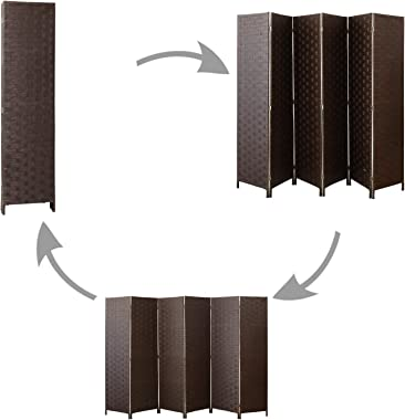 cocosica Room Divider and Folding Privacy Screen, Wall Divider with Dual Sides Weaved, 6 Panel Room Screen Divider Separator,
