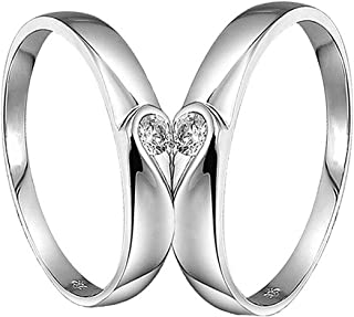a3a0417f6c I Jewels Valentine's Special Silver Plated 2 Pcs His and Her Heart Shape  Matching Adjustable Promise