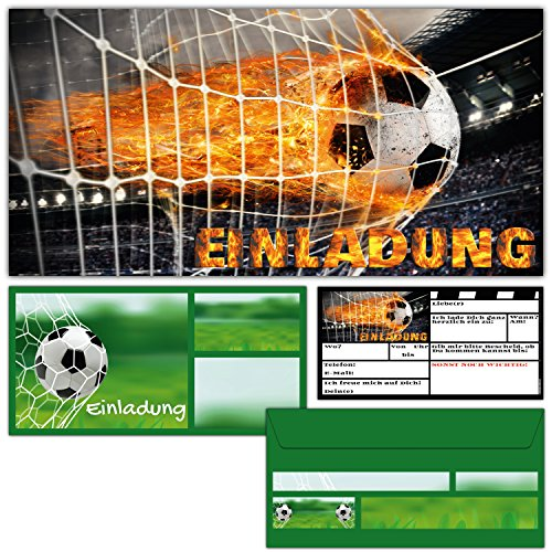 BREITENWERK 12er Set Fußball Einladungskarten inklusive Umschläge zum Kindergeburtstag oder Fussball-Party - Einladungen für Kinder & Erwachsene