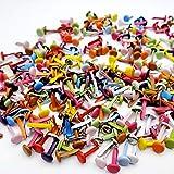 JZK 500 x Encuadernadores pequeños multicolour, mini brads multicolores de 4 mm para trabajos manualidades, clips sujetadores metálicos redondos para arte papel y scrapbooking DIY