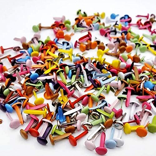 JZK 500 x Mehrfarben 4mm Metall Mini Brads Rund Musterklammern Rundkopfklammern für Scrapbooking Papier Basteln Handwerk Fotos DIY Handmade Crafts