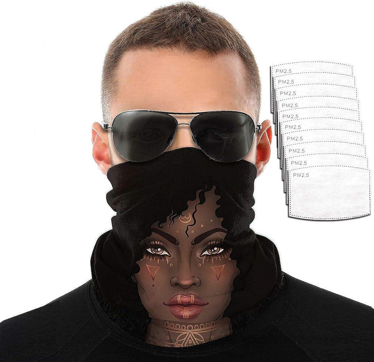 Kiuloam Bandana Face Mask Reusable,African Woman Girl Neck Gaiter Balaclava for Women Men