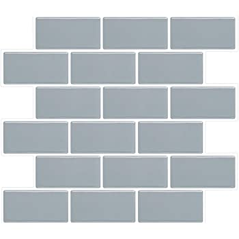 Amazon Com Vivid Tree Subway Stick Tiles Grey With White Grout Peel And Stick Backsplash 10x11 Inchs Peel And Stick Shower Tile Self Adhesive Waterproof Stick On Kitchen Backsplash Bathroom 4 Pack In Box Home Kitchen