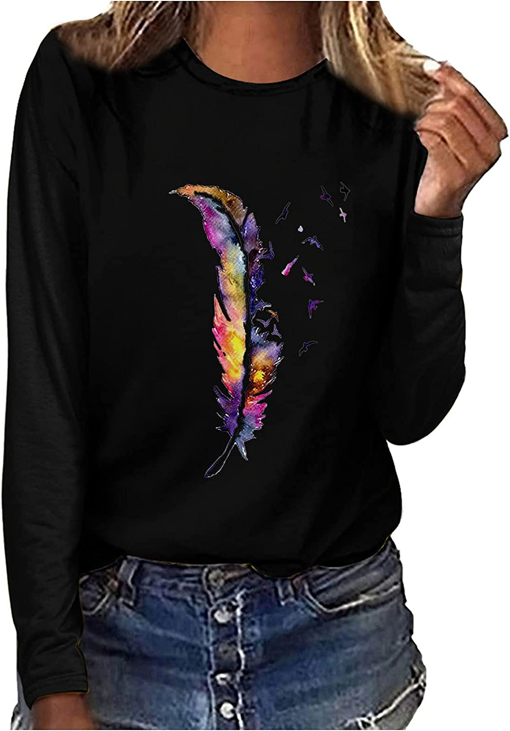 FABIURT Cute Sweatshirts for Women, Womens Casual Feather Printed Blouses Crewneck Graphic Long Sleeve Pullover Sweaters