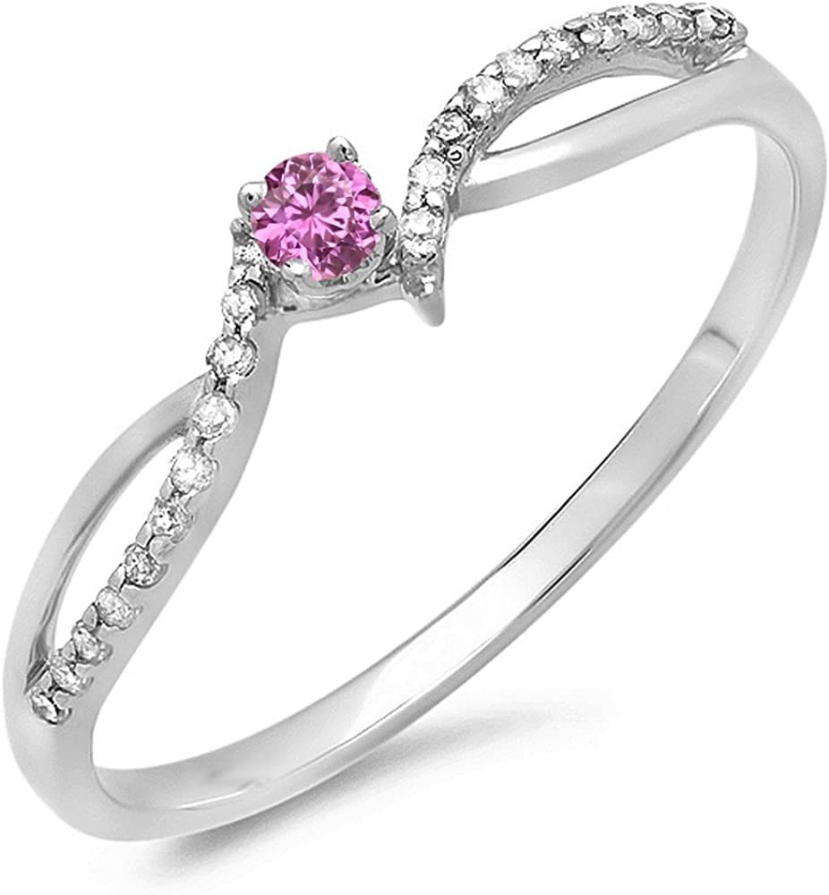 Dazzlingrock Collection 10K Gold Round Pink Sapphire & White Diamond Ladies Crossover Split Shank Bridal Promise Engagement Ring