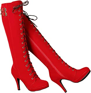 getmorebeauty Womens Red Suede Buckle Rock Lace Up Zipped Knee High Boots High Heel Boots (US 6, Red)