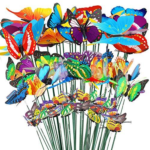 32pcs Mariposas Libélulas Coloridas de Jardín Adornos de Patio en Palos para Decoración Ornamento de Jardín Planta Yarda Exterior, 24 Jardín Mariposas Estacas, 8 Jardín Libélulas Estacas, 4 7 8.5 10cm