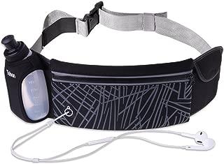 Uleade Running Belt, Adjustbale Fitness Belt with Water Bottle, Waterproof Reflective Zipper Waist Pack for Runners, Race, Marathon, Hiking - Men and Women