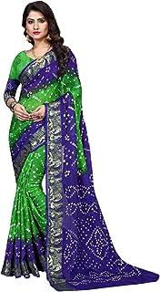 Indian Traditional green Bandhej Art Silk Zari weaving Festival Bandhani Printed Saree Blouse Sari 6316
