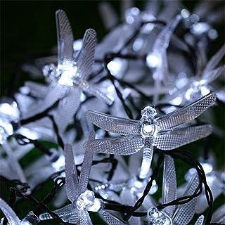 L.J.JZDY Solcellsbelysning sol julbelysning 20 LED trollslända solenergi sladd ljus vattentät utomhus trädgårdsfest dekora...