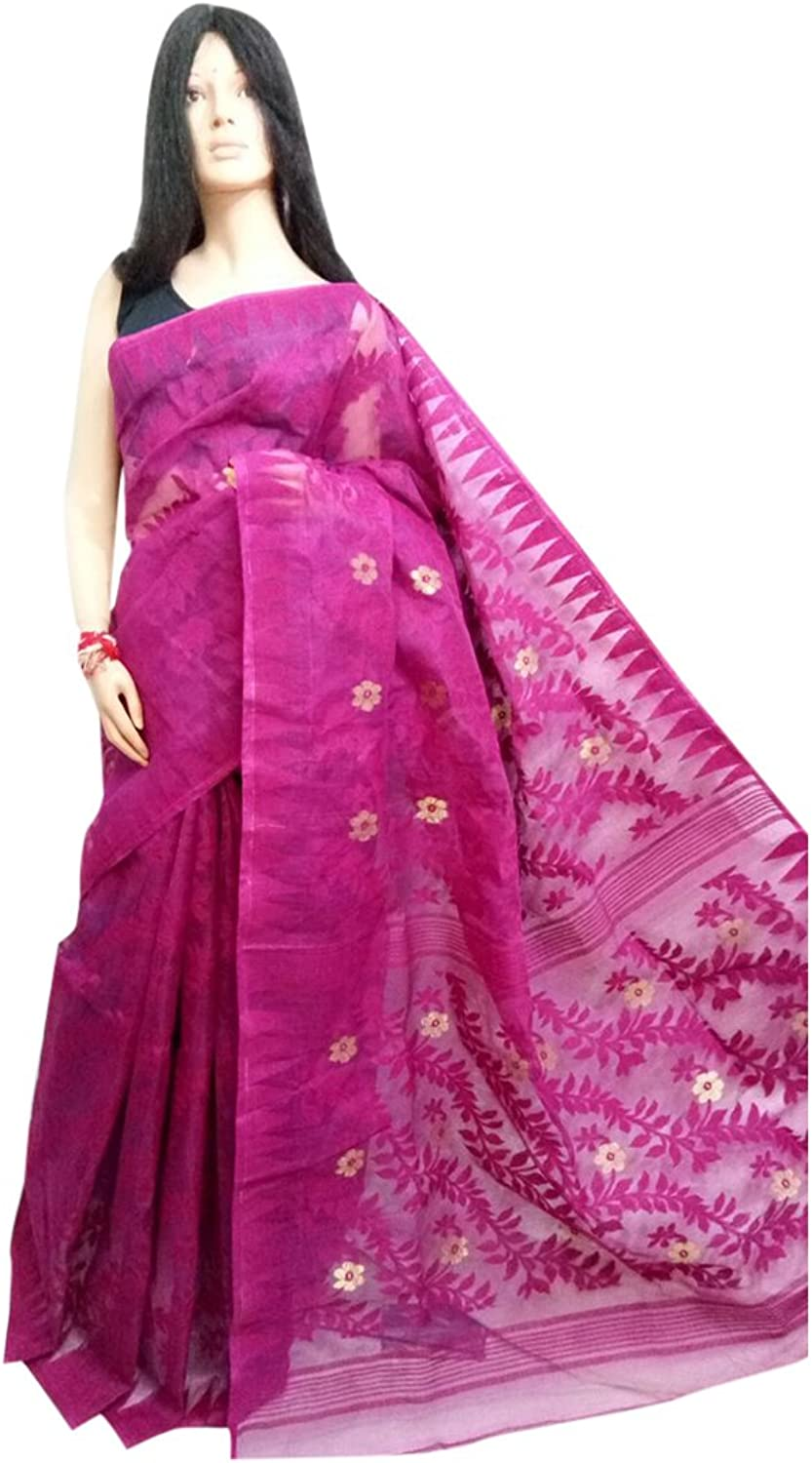 Ethnic purple Handloom Dhakai Jamdani Sari Full weaving work Bengal Women sari Indian Festive saree 105 5