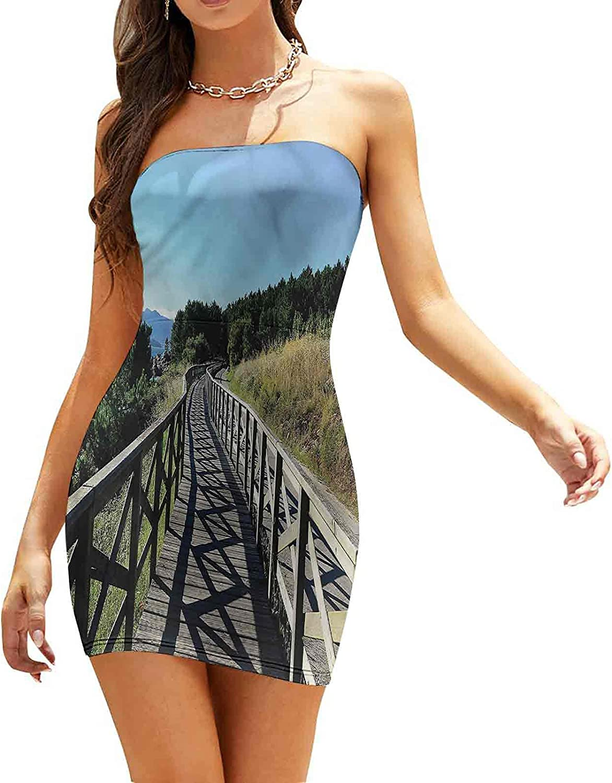 Women's Sleeveless Sexy Tube Top Dress Wood Boardwalk Pebble Coast Dresses